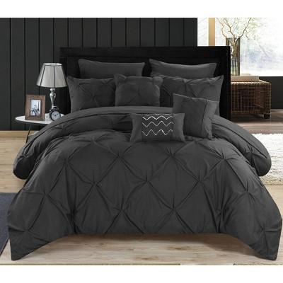 King 10pc Valentina Comforter Set Black - Chic Home Design