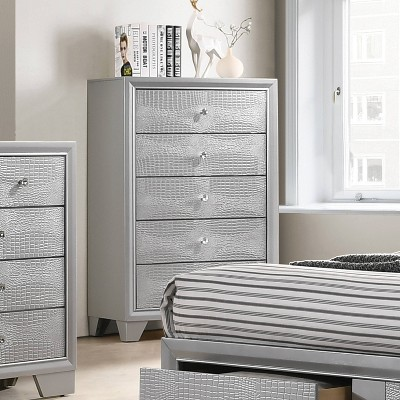Faux Alligator Chest Silver - Home Source