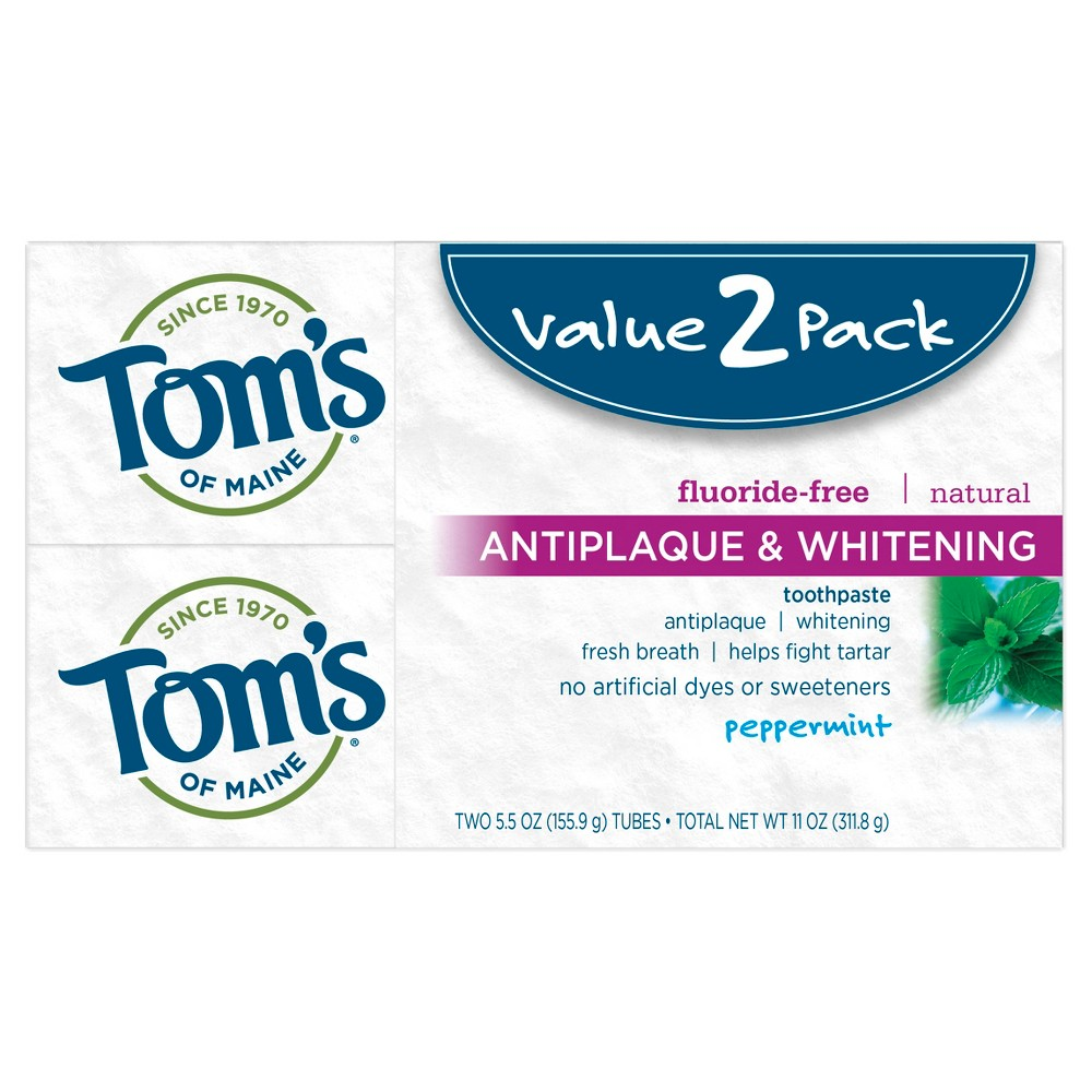 Image of Tom's of Maine Antiplaque and Whitening Peppermint Natural Toothpaste - 2pk/5.5oz