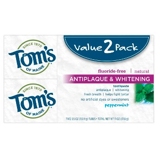 Toms of Maine Antiplaque and Whitening Peppermint Natural Toothpaste - 2pk/5.5oz