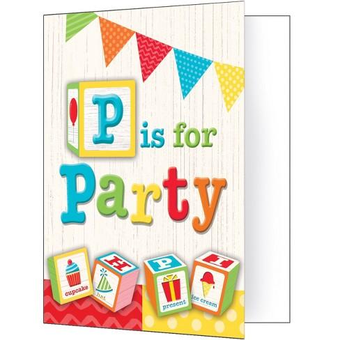 8ct Creative Converting ABC Blocks Birthday Invitations Target