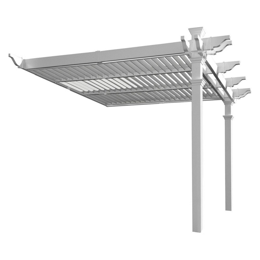 Image of 8.5' Elysium Attached Louvered Pergola - New England Arbors, Brown