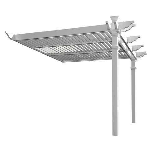 8.5' Elysium Attached Louvered Pergola - New England Arbors - image 1 of 2