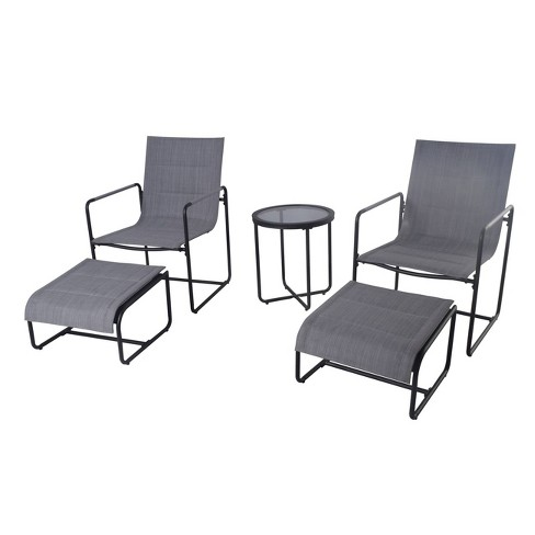5pc Padded Sling Patio Chat Set With