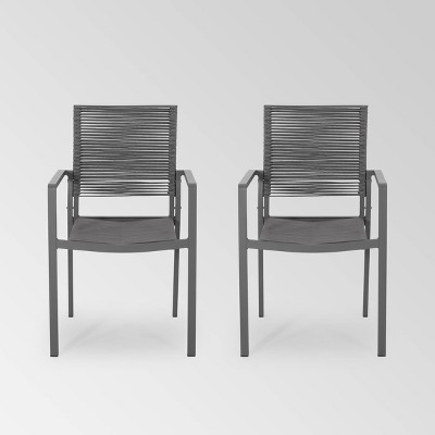 Cape Coral 2pk Aluminum Dining Chair with Rope Seat - Christopher Knight Home