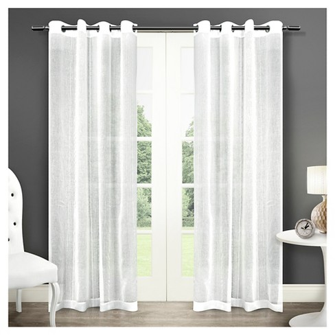 Sabrina Sheer Striped Grommet Top Window Curtain Panel Pair - Exclusive Home™ - image 1 of 4