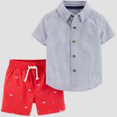 Baby Boys' 2pc Striped Top & Bottom Set - Just One You® made by carter's Blue/Red 6M