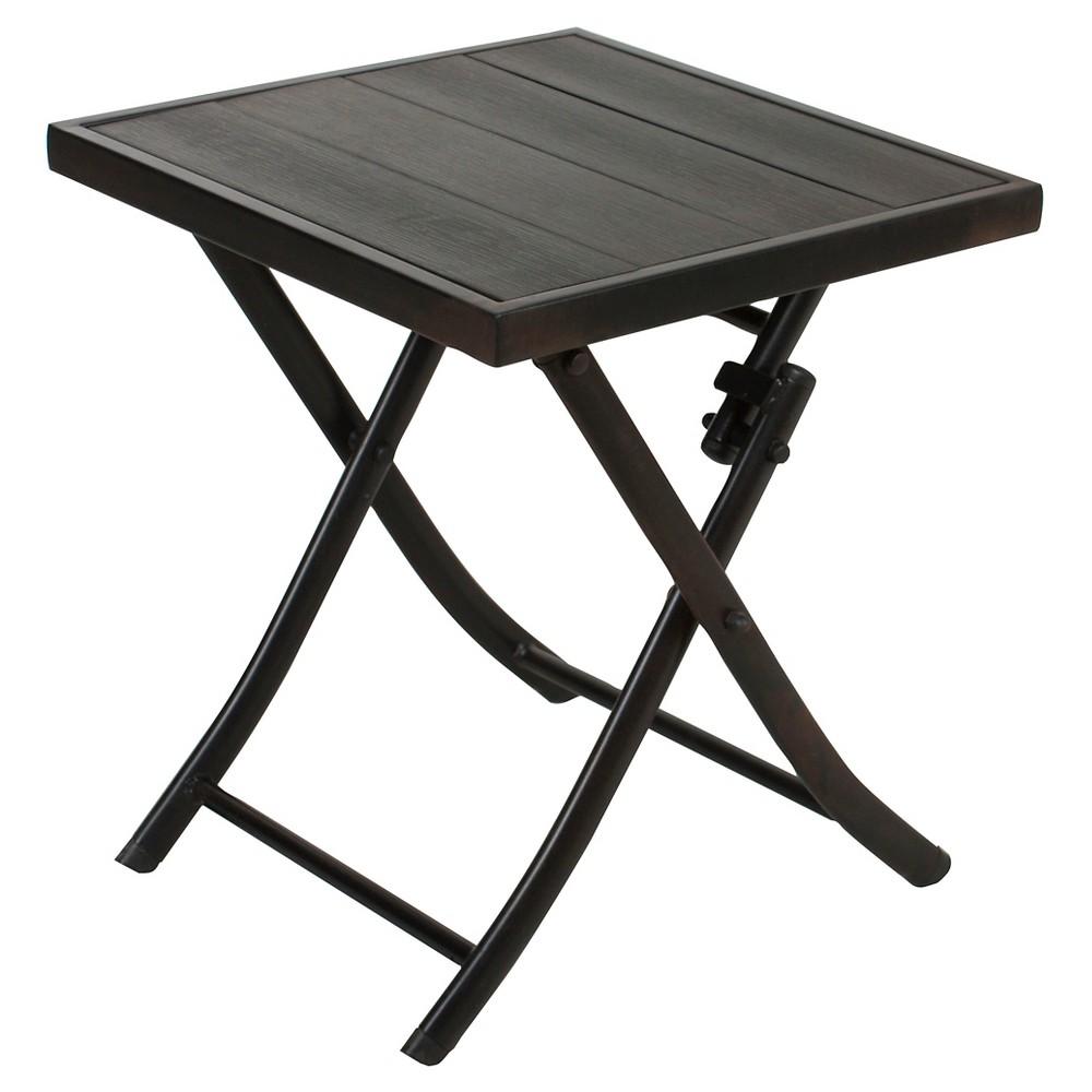 Image of Faux Wood Patio Folding Side Table - Black - Captiva Design