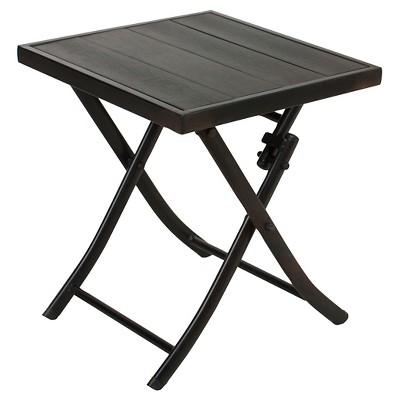 Beau Faux Wood Patio Folding Side Table   Black   Captiva Design : Target