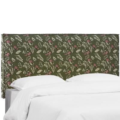 Solverster French Seam Slipcover Headboard Debris Floral Dark Green - Skyline Furniture