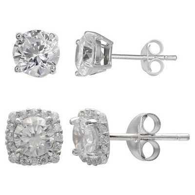 Women's Set of Stud and Button Earrings with Cubic Zirconia in Sterling Silver - Silver/Clear (8mm)
