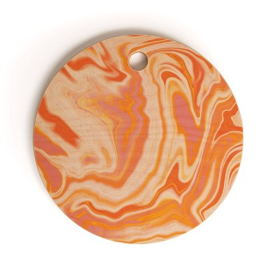"13"" Wood Sunshine Canteen Orange Marble Cutting Board - society6"