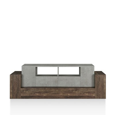 "80"" Lums TV Stand Cement/Reclaimed Oak - miBasics"