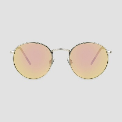 Men's Round Trend Sunglasses with Mirrored Lenses - Original Use™ Silver