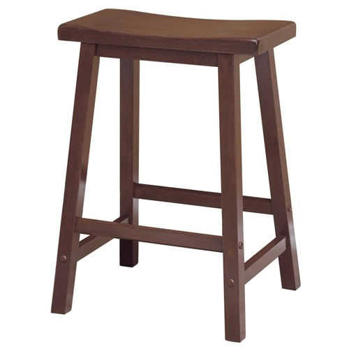 'Saddle Seat 24'' Counter Stool Hardwood/Walnut - Winsome, Brown'