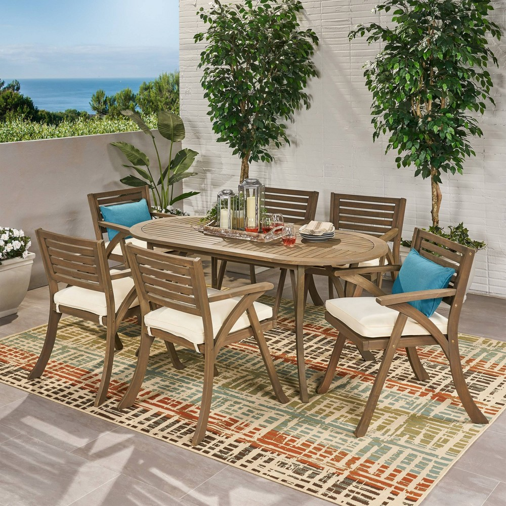 Hermosa 7pc Acacia Wood Oval Dining Set Gray Cream Christopher Knight Home