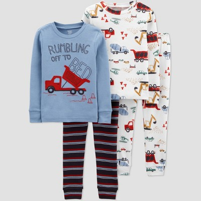 Toddler Boys' 4pc Fun Truck/Car Print Pajama Set - Just One You® made by carter's Blue