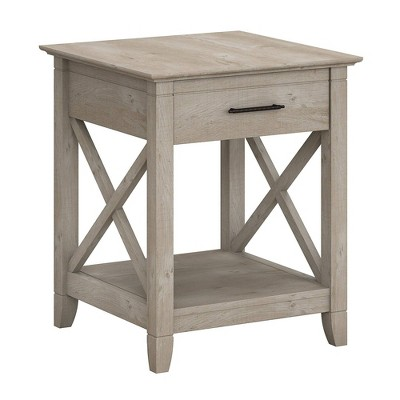 Key West End Table with Storage Washed Gray - Bush Furniture