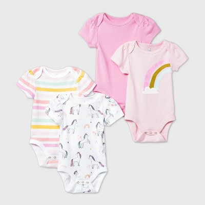Baby Girls' 4pk Unicorn Adventure Short Sleeve Bodysuit - Cloud Island™ Pink 3-6M