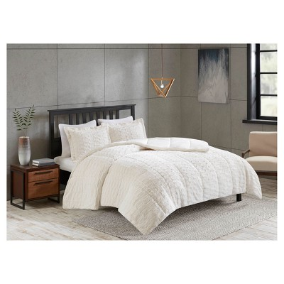 Full/Queen 3pc Vermont Long Faux Fur Comforter Set Ivory