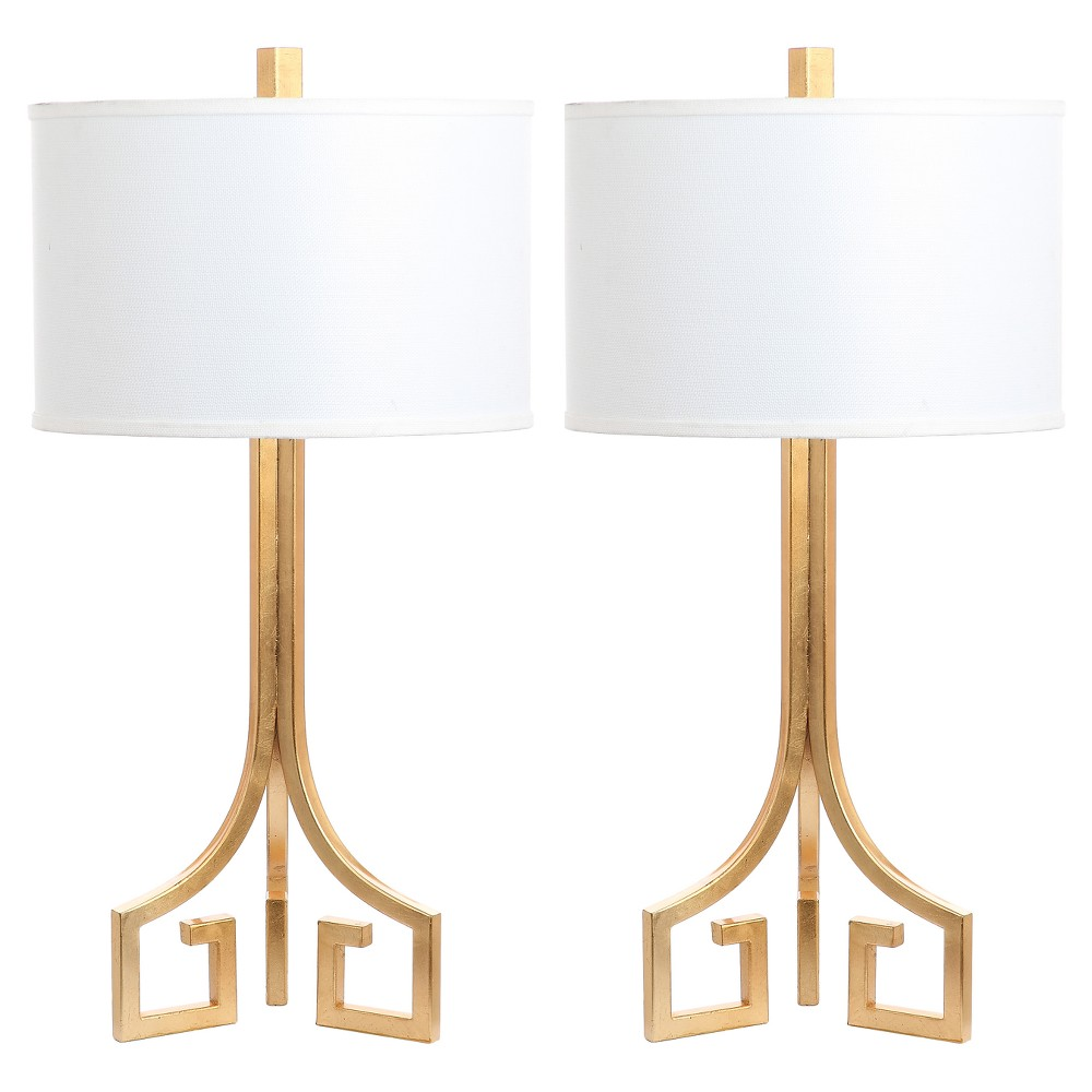 Image of Arabelle Hardback Gold Metal Table Lamp Set of 2 - Safavieh