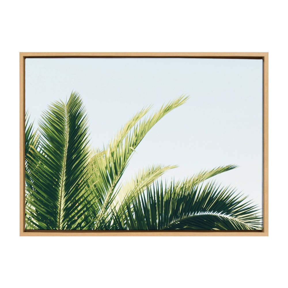 """Image of """"23"""""""" x 33"""""""" Sylvie Tropical Palm Under Sky Framed Canvas Wall Décor By Amy Peterson Blue - Kate and Laurel"""""""