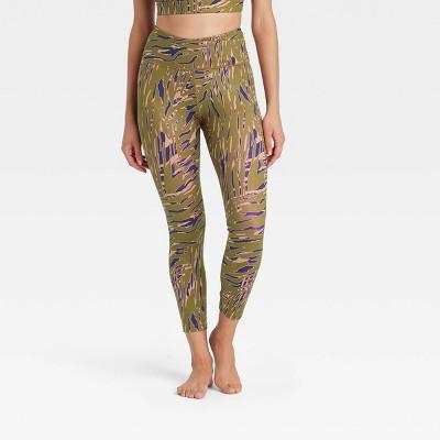 Women's High-Rise Zebra Print Criss-Cross Waistband 7/8 Leggings - JoyLab™ Army Green