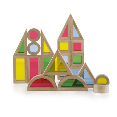 Guidecraft Junior Rainbow Blocks Colorful Stacking Blocks