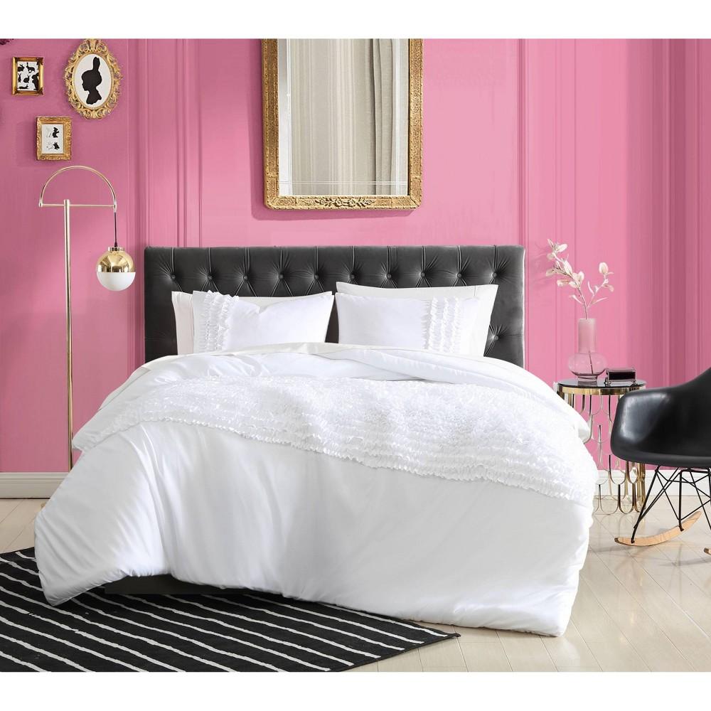 Full Queen Romantic Ruffles Duvet Cover Set White Betseyville