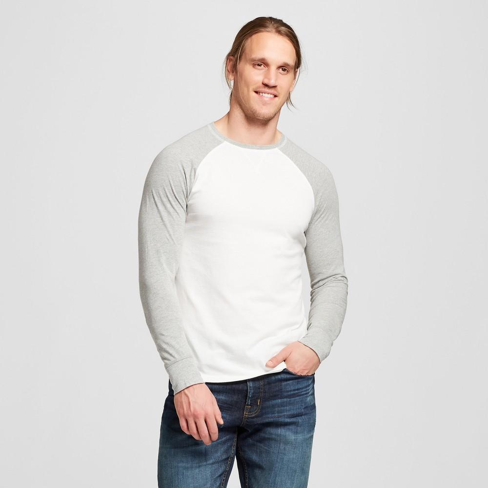 Men's Long Sleeve Sensory Friendly Baseball T-Shirt - Goodfellow & Co White 2XL