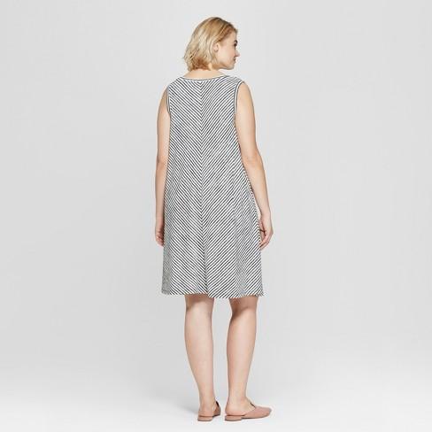 5bade88d2cc Women s Plus Size Striped Sleeveless Midi Swing Dress - Ava   Viv™  Black White X   Target