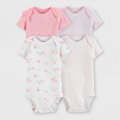 Baby Girls' 4pk Bodysuits - Just One You® made by carter's White/Pink 6M
