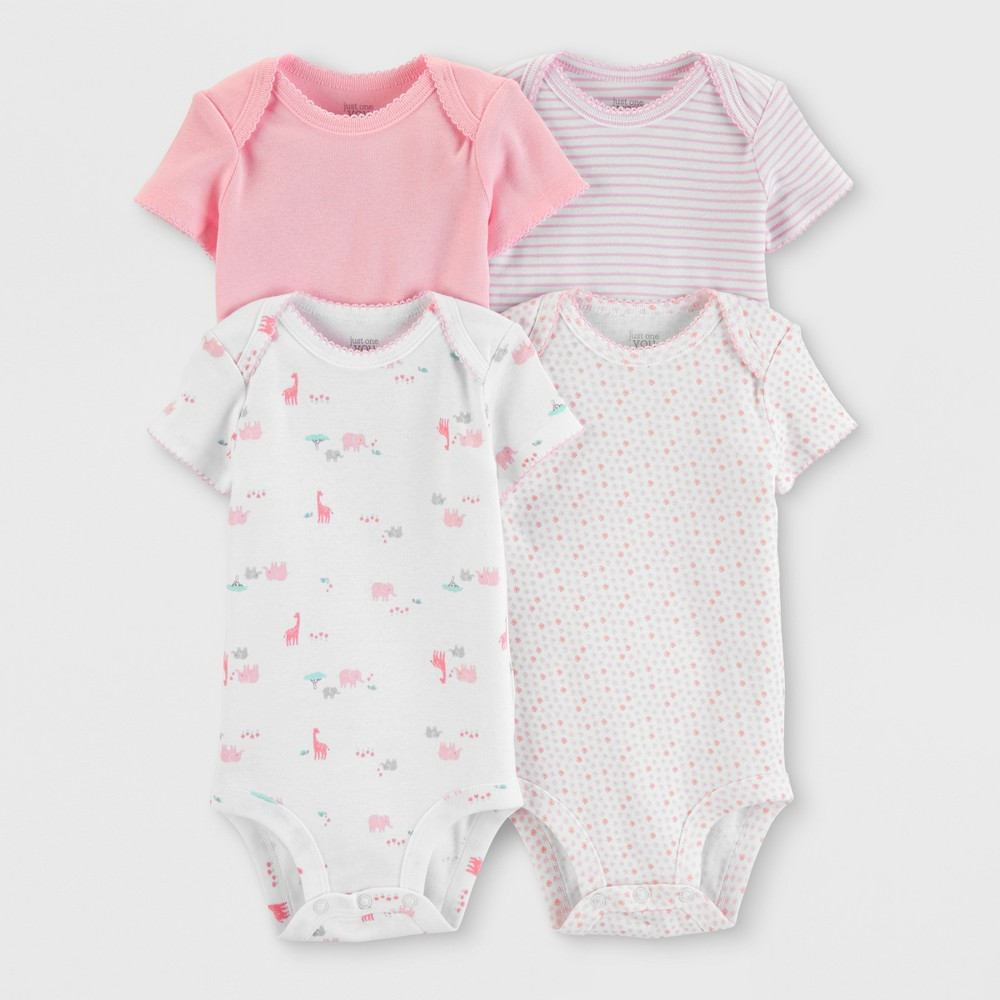 Baby Girls' 4pk Bodysuits - Just One You made by carter's White/Pink Preemie