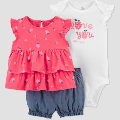 Baby Girls' Raspberry Love Top & Bottom Set - Just One You® made by carter's Pink