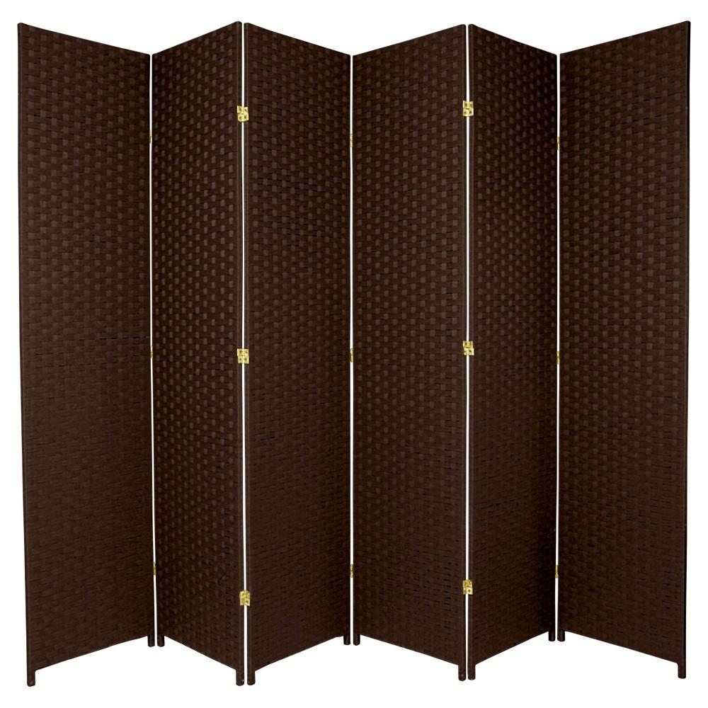 7 ft. Tall Woven Fiber Room Divider - Dark Mocha (6 Panels), Brown