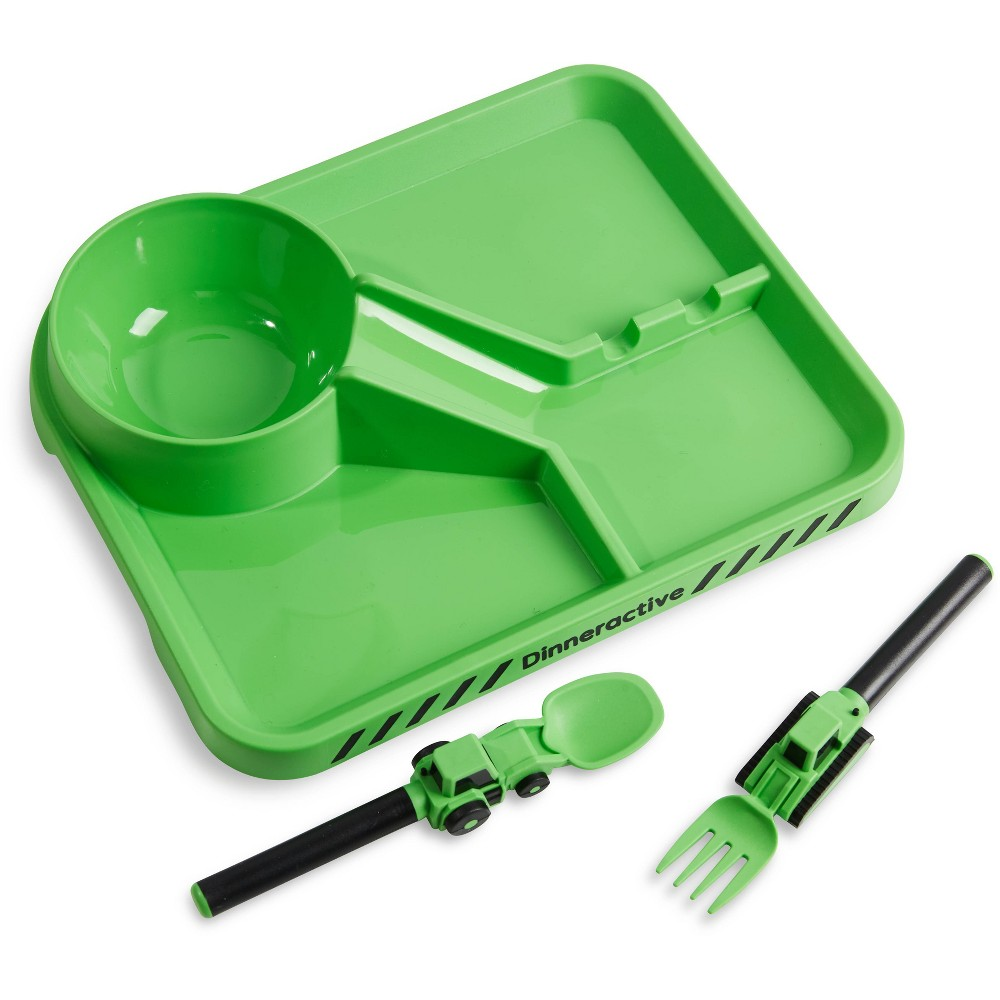 Image of 3pc Plastic Kids Construction Dining Set Green - Dinneractive