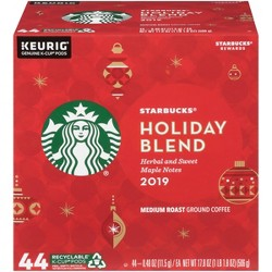 Keurig Starbucks Holiday Blend Ground Medium Dark Roast Coffee 44ct K-Cup