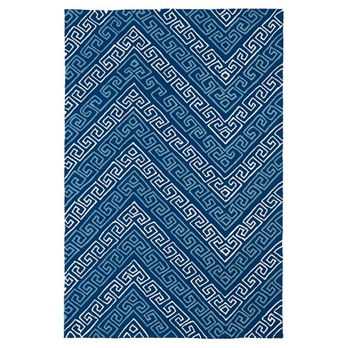 Kaleen Rugs Matira Chevron Indoor Outdoor Area Rug Blue 7 6 X9