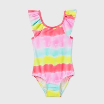 Toddler Girls' Tie-Dye Striped Ruffle Sleeve One Piece Swimsuit - Cat & Jack™ White