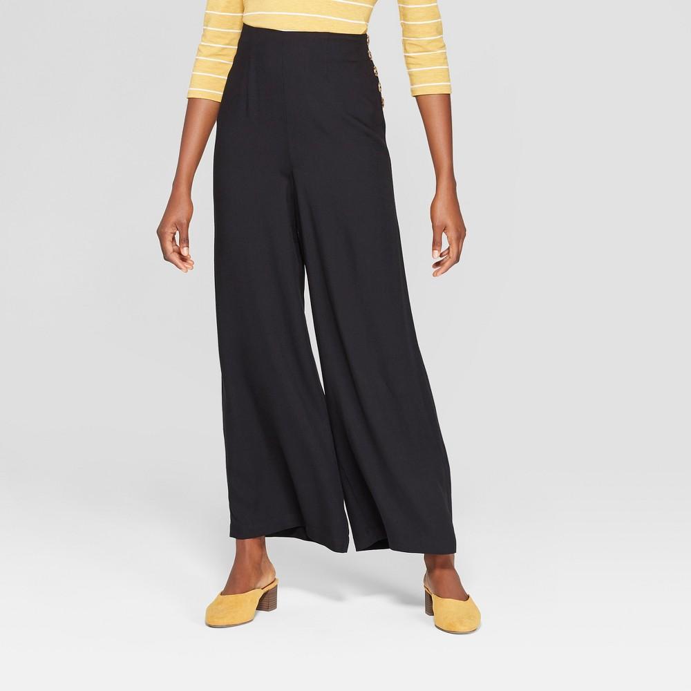 Women's Side Button Wide Leg Pants - Xhilaration Black XL