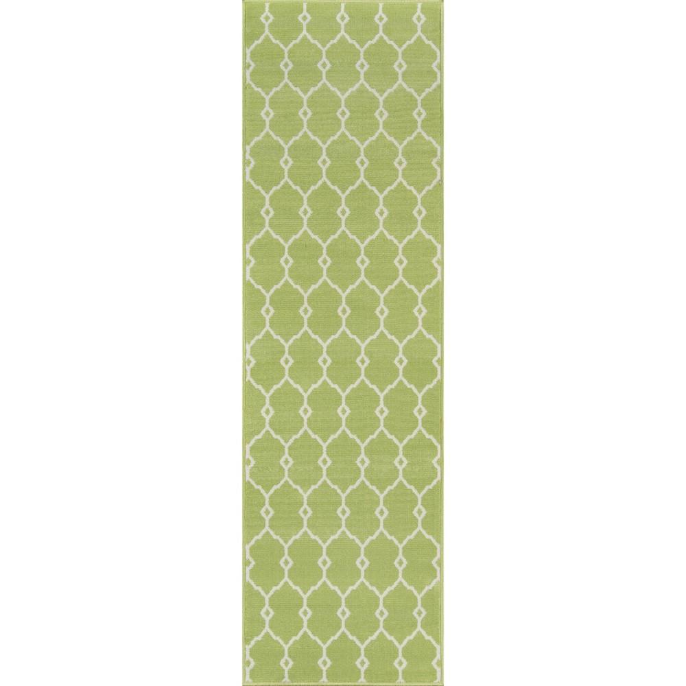 Indoor/Outdoor Fretwork Runner - Green (2'3x8')