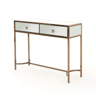 Arthur Modern Console Table Mirrored/Rose Gold - Christopher Knight Home