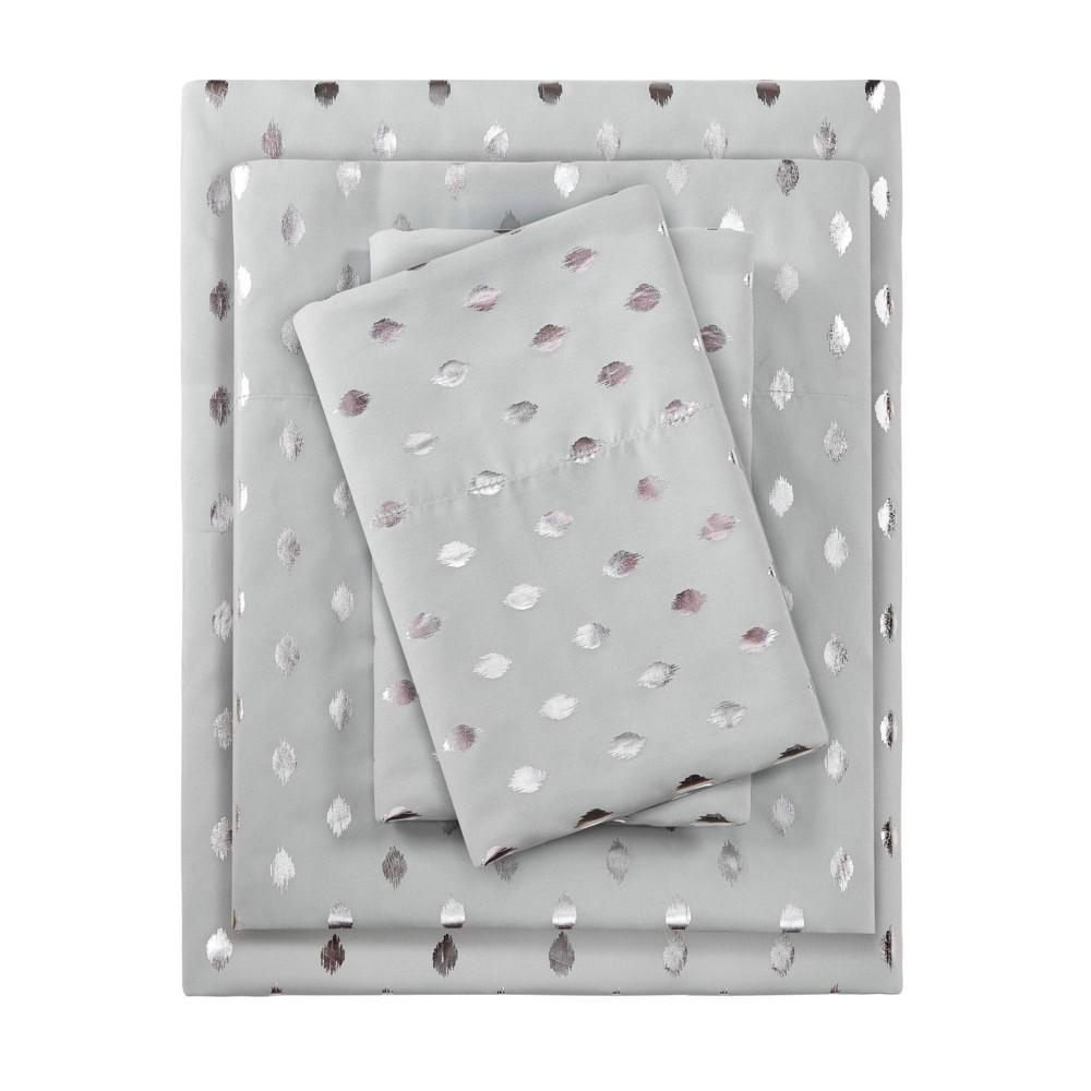 Twin Metallic Dot Printed Sheet Set Gray/Silver