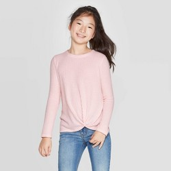 Girls' Long Sleeve Cozy Waffle T-Shirt - Cat & Jack™ Pink
