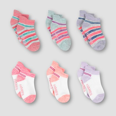 Baby Girls' Hanes 6pk Heel Shield Socks - Colors May Vary 6-12M