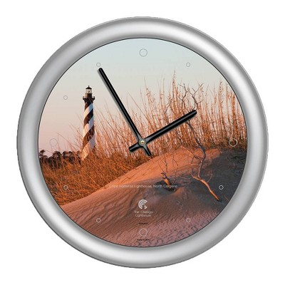 "14"" x 1.8"" Cape Hatteras Lighthouse Quartz Movement Decorative Wall Clock Silver Frame - By Chicago Lighthouse"