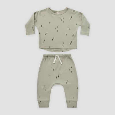 Q by Quincy Mae Baby 2pc Trees Brushed Jersey Top & Bottom Set - Sage Green 6-12M