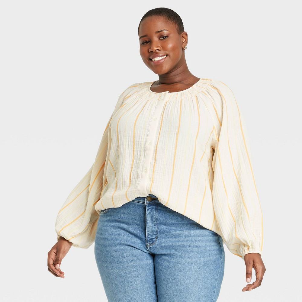 Women 39 S Plus Size Striped Long Sleeve Gauze Blouse Ava 38 Viv 8482 Yellow Cream X