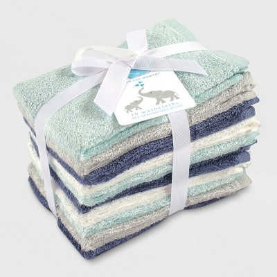 Hudson Baby Boys' 10pk Rayon from Bamboo Washcloths - Blue/Teal One Size