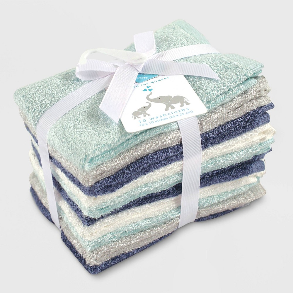 Image of Hudson Baby Boys' 10pk Rayon from Bamboo Washcloths - Blue/Teal One Size, Turquoise